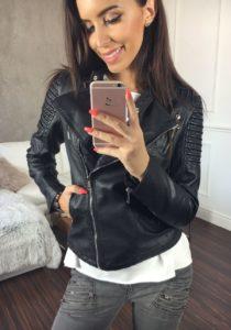 Černá dámská kožená bunda z ekokůže Bolf